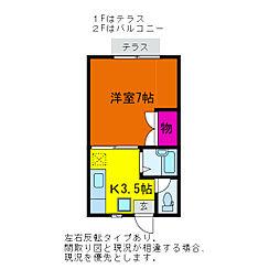 シャンブル笹口I・II[1階]の間取り