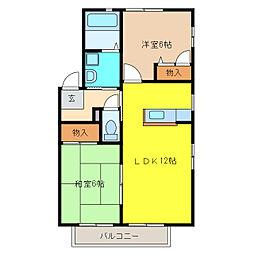 愛知県丹羽郡大口町余野1丁目の賃貸アパートの間取り