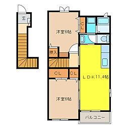 ゼファーII[2階]の間取り
