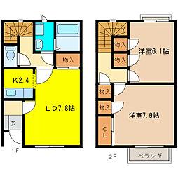 [テラスハウス] 愛知県犬山市中山町1丁目 の賃貸【/】の間取り