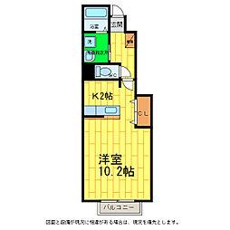 徳島県板野郡藍住町勝瑞字東勝地の賃貸アパートの間取り