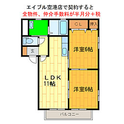 徳島県徳島市川内町平石若宮の賃貸アパートの間取り