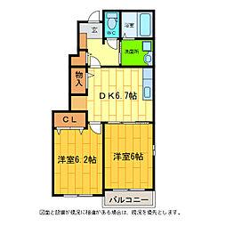 ガーデンヒル藍住B[1階]の間取り