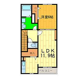 藍住町勝瑞アパートA[202号室]の間取り