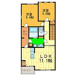エレガンシア藍住B[2階]の間取り