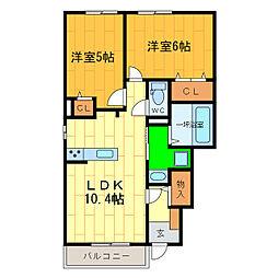 徳島県板野郡北島町鯛浜字西中野の賃貸アパートの間取り