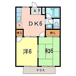 コーポ稲垣[1階]の間取り