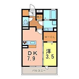 スクエア新富[1階]の間取り