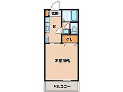 マンションシャルムB(K)[1階]の間取り
