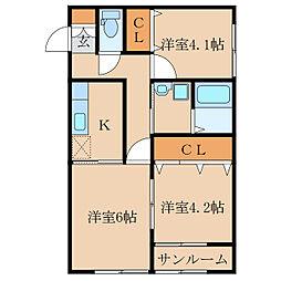 王子町新築アパートB棟(仮称[1階]の間取り