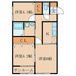 王子町新築アパートB棟(仮称[2階]の間取り