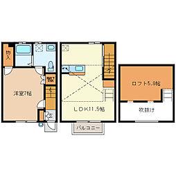 [テラスハウス] 静岡県湖西市新居町新居 の賃貸【静岡県 / 湖西市】の間取り