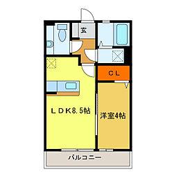 静岡県浜松市中区上島7丁目の賃貸アパートの間取り