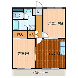 静岡県浜松市中区小豆餅1丁目の賃貸マンションの間取り