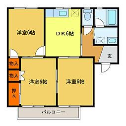 静岡県浜松市中区曳馬3丁目の賃貸アパートの間取り