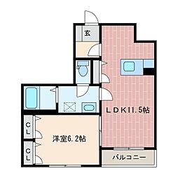 静岡県浜松市中区萩丘4丁目の賃貸マンションの間取り