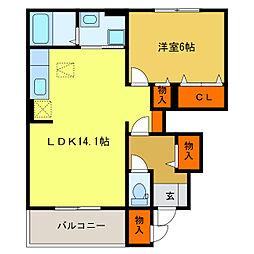 静岡県浜松市中区春日町の賃貸アパートの間取り