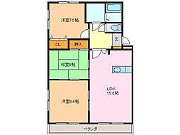 愛知県名古屋市緑区鳴海町字姥子山の賃貸マンションの間取り