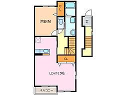愛知県名古屋市緑区桶狭間北3丁目の賃貸アパートの間取り