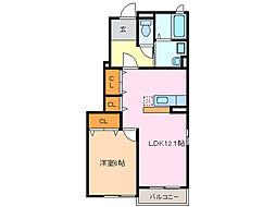 愛知県名古屋市緑区大高町字西門田の賃貸アパートの間取り