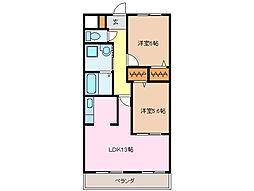 愛知県名古屋市緑区篭山3の賃貸マンションの間取り