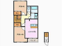愛知県名古屋市緑区八つ松1丁目の賃貸アパートの間取り