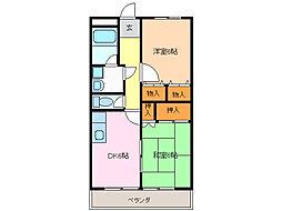 愛知県名古屋市緑区文久山の賃貸アパートの間取り