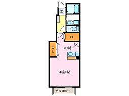 愛知県名古屋市緑区鳴海町字母呂後丁目の賃貸アパートの間取り