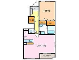 愛知県名古屋市緑区高根山1丁目の賃貸アパートの間取り