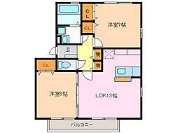 リベルテ神沢[2階]の間取り