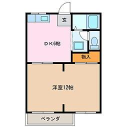 愛知県名古屋市緑区桶狭間の賃貸アパートの間取り