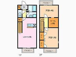 愛知県名古屋市緑区姥子山2丁目の賃貸アパートの間取り