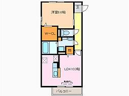 愛知県名古屋市緑区尾崎山2丁目の賃貸アパートの間取り