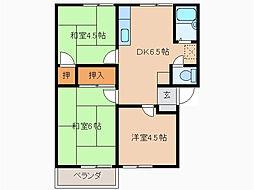 愛知県名古屋市緑区平子が丘の賃貸アパートの間取り