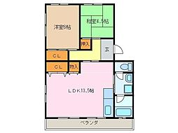 愛知県名古屋市緑区鳴海町字山腰の賃貸マンションの間取り