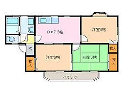 タウンサンロイヤル C棟[2階]の間取り