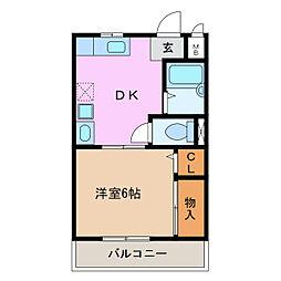 愛知県豊明市間米町榎山の賃貸アパートの間取り