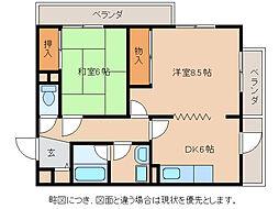 滋賀県東近江市八日市清水2丁目の賃貸マンションの間取り