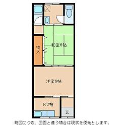 滋賀県東近江市幸町の賃貸アパートの間取り