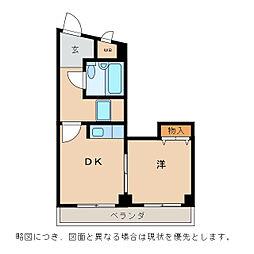 カーサ清水花[4階]の間取り