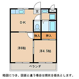 滋賀県愛知郡愛荘町豊満の賃貸アパートの間取り