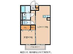 滋賀県東近江市東沖野2丁目の賃貸アパートの間取り