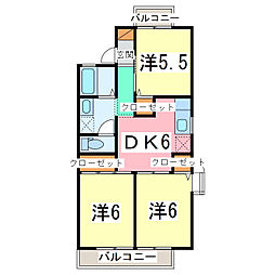 JR内房線 長浦駅 徒歩6分の賃貸アパート 2階3DKの間取り