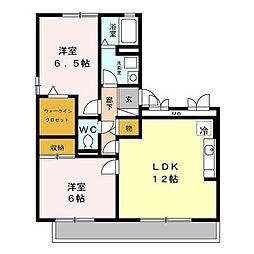 JR内房線 長浦駅 徒歩8分の賃貸アパート 1階2LDKの間取り