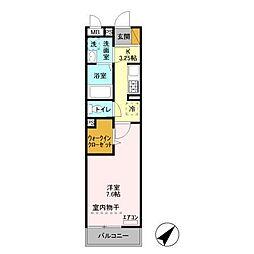 JR内房線 五井駅 徒歩9分の賃貸アパート 2階1Kの間取り