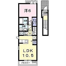 JR内房線 木更津駅 バス7分 東太田郵便局前下車 徒歩3分の賃貸アパート 2階1LDKの間取り