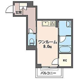 JR内房線 五井駅 徒歩8分の賃貸マンション 2階ワンルームの間取り