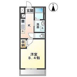 JR内房線 木更津駅 徒歩6分の賃貸アパート 2階1Kの間取り