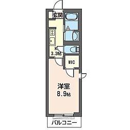 JR内房線 五井駅 徒歩17分の賃貸マンション 2階1Kの間取り