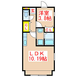 Cube8 2階1LDKの間取り